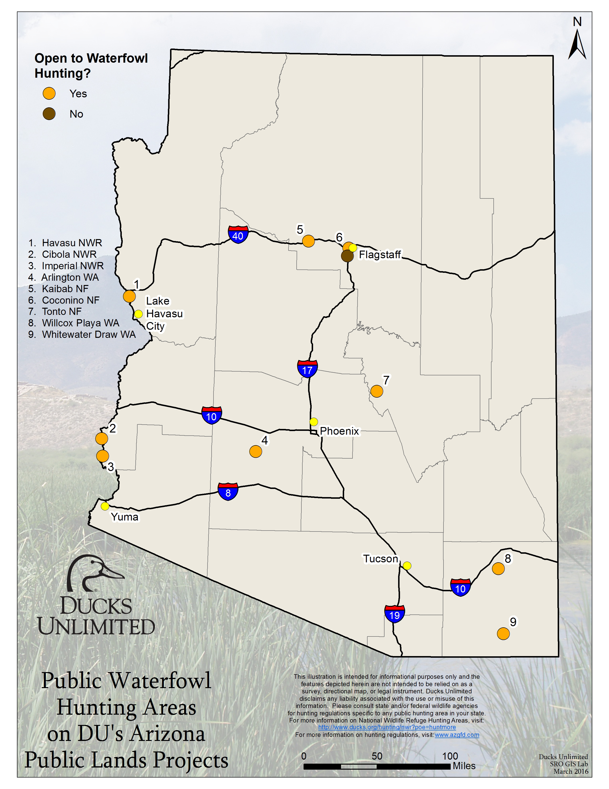 Public Waterfowl Hunting Areas on DU Public Lands Projects