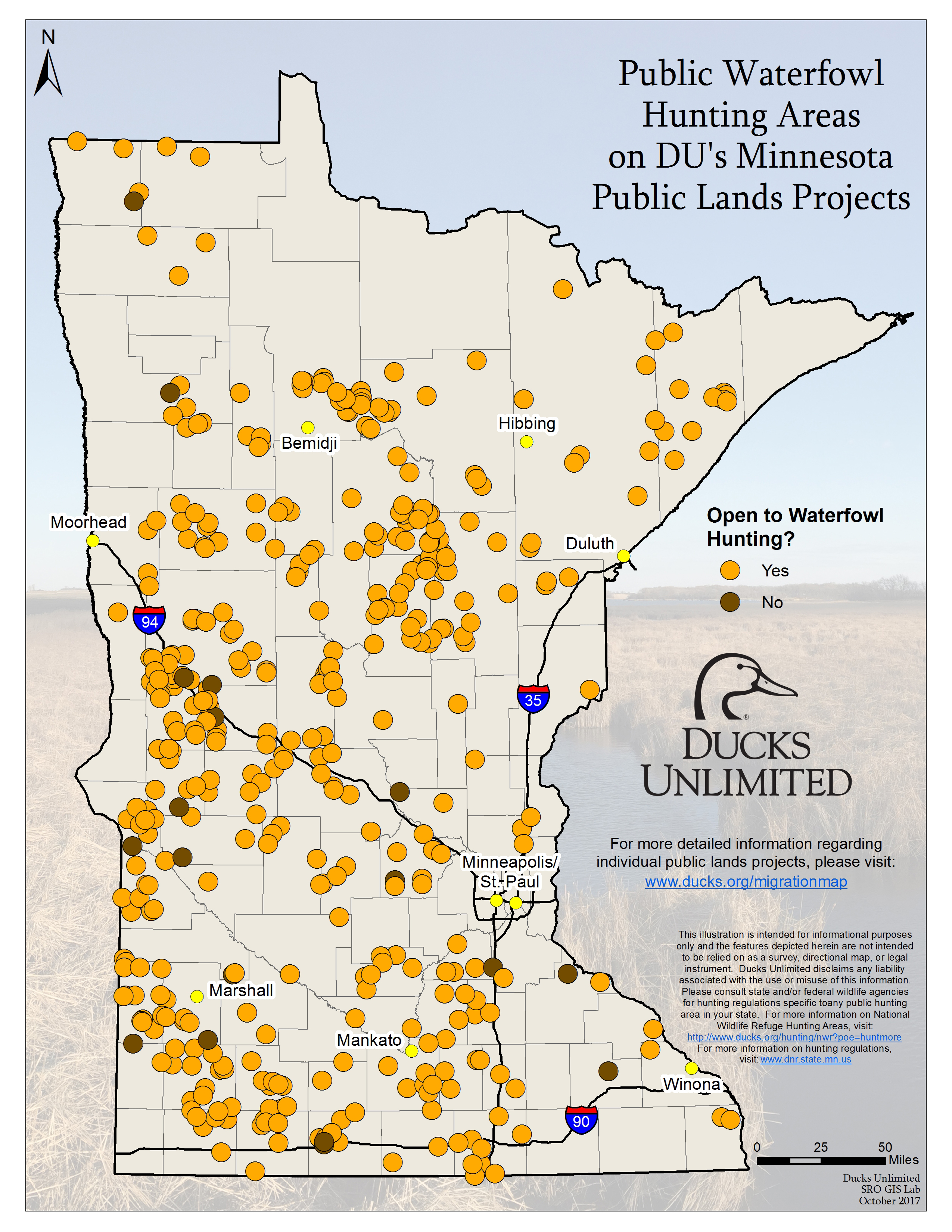 Public Waterfowl Hunting Areas on DU Public Lands Projects on