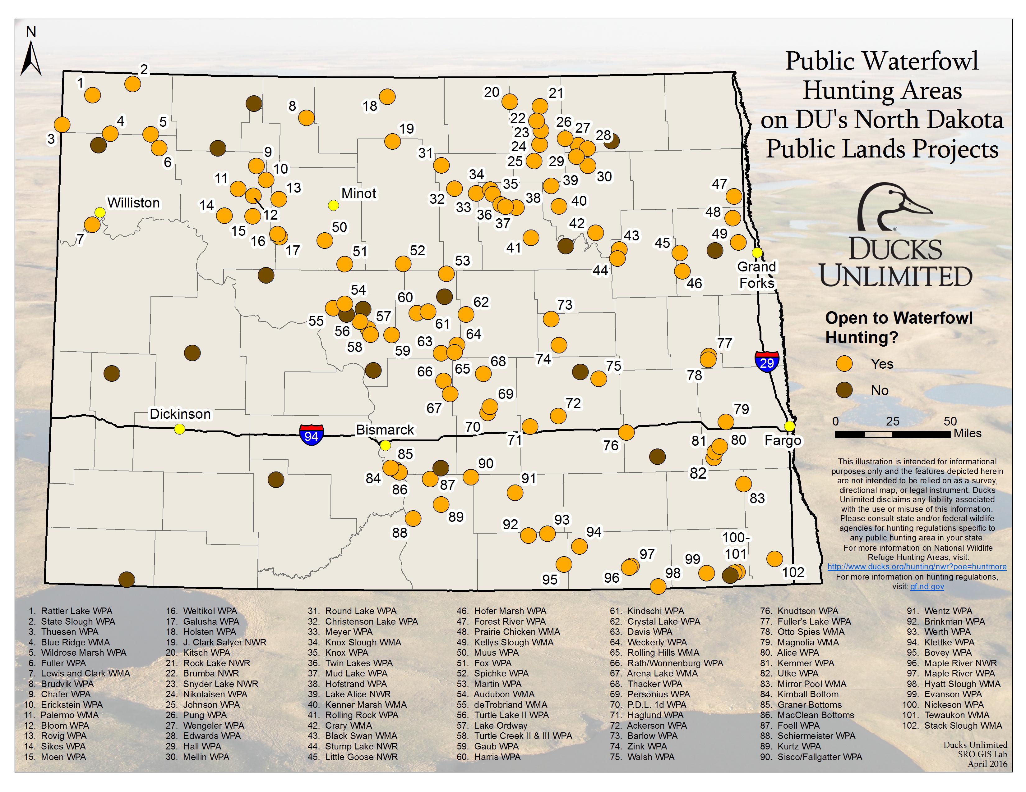 south dakota public land map Public Waterfowl Hunting Areas On Du Public Lands Projects south dakota public land map