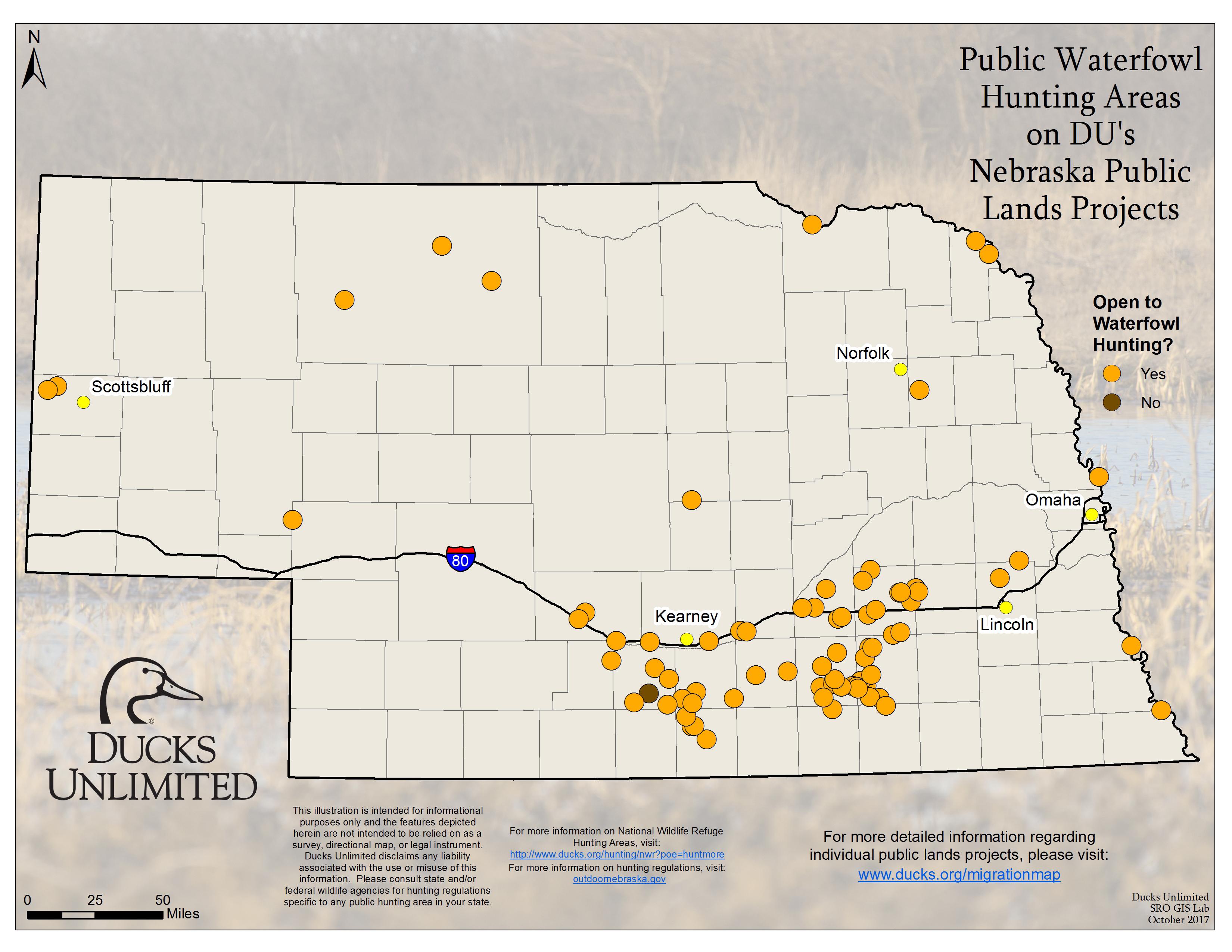 nebraska public land map Public Waterfowl Hunting Areas On Du Public Lands Projects nebraska public land map