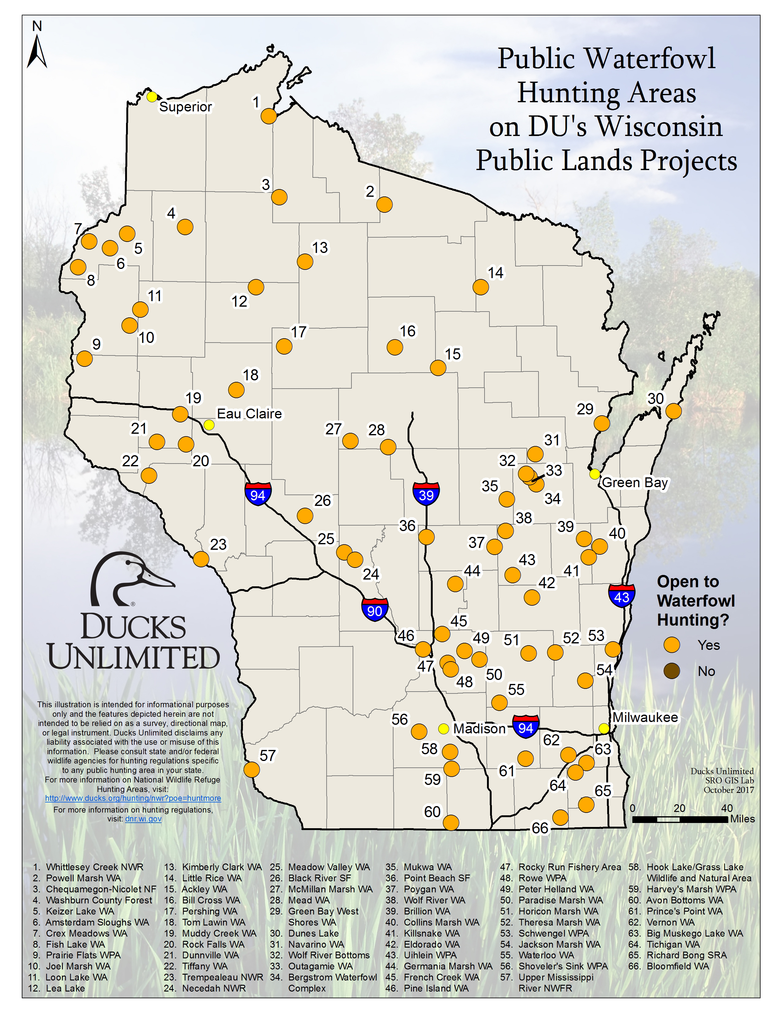 iowa public hunting map Public Waterfowl Hunting Areas On Du Public Lands Projects iowa public hunting map